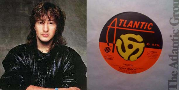 "Julian Lennon (lft) and my copy of the single ""Valotte"""